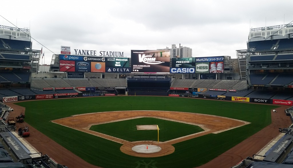 V‑COMM logo appears on video board at Yankee Stadium during Transit Wireless Phase 4 Launch Party